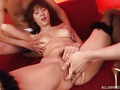 threesome, brunette, from behind, fingering vagina, nipple rubbing, sucking dicks, big natural breasts, asian mommy, japanese matures, all japanese pass, yuma asami