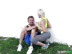 blonde, babe, big boobs, blow job, tattooed, workout, pussy eating, grabbing tits, licking nipple, the real workout, team skeet, cristi ann