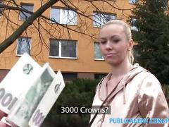 Publicagent married blonde takes cash for sex