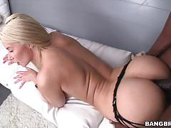 Anikka albrite rides a huge black cock in her tight pussy