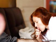 Amateur redhead sucking cock