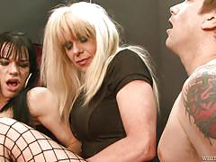 shemales, shemale big boobs, blonde tranny, face fuck, anal sex, blowjob, threesome, bareback, fishnets, white ghetto, fame digital, jordan jay, joanna jet