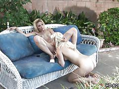 blonde, lesbians, milfs, pussy licking, fingering, natural boobs, outdoors, pussy rubbing, dildo play, lesbos hd, angela stone, genesis skye