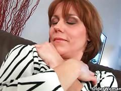 Highly sexed mom gives her hairy pussy a treat