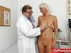 Blond dame gets a gyno test