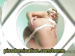 Bella bathory pisses on her sissy toilet slave husband