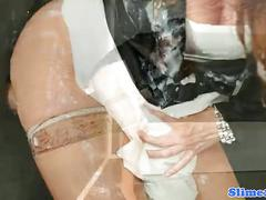 Funny gloryhole redhead eurobabe in stockings