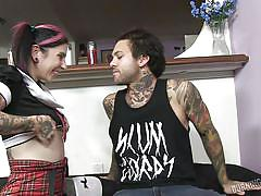 milf, stockings, kissing, eating pussy, brunette, tattooed, school uniform, tits licking, burning angel, burning angel, joanna angel, small hands