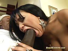Wild brazilian gets her pussy nailed