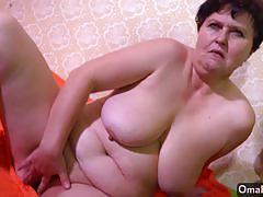 Randy granny masturbating