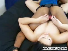 Amateur ffm interracial threesome with cum on ass