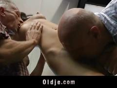 Skinny hussy waitress fucked by two perv grandfathers