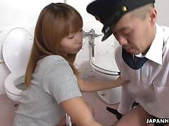 Freaky asian police officer licking hairy twat