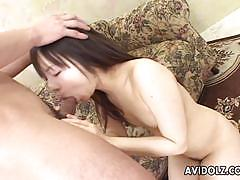 Asian brunette devours this hard dick