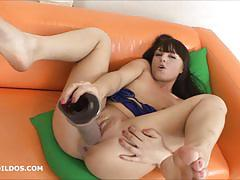 brunette, toy, masturbation, dildo, solo, brutal, amateur, insertion, masturbate, masturbating