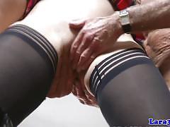 tattoo, facial, british, bondage, stockings, threesome, uniform, mmf, handcuffs