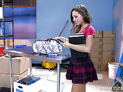 student, babe, school, blowjob, busty, dildo, skirt, caught masturbating, brunette, big tits at school, brazzers, small hands, abigail mac