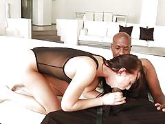 Sexy brunette devours this big black cock