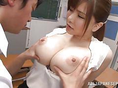 Big breasted teacher tugs him off
