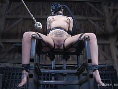 Strapped to a chair and masked