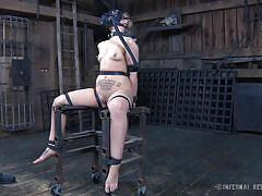 bdsm, whipping, vibrator, tattooed, blonde babe, ball gag, gas mask, device bondage, infernal restraints, infernal restraints, elizabeth thorn, delirious hunter