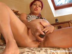 Horny & pregnant redhead plays with a toy before fucking cock