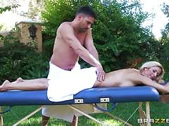 Alexis fawx getting an oily outdoor drilling