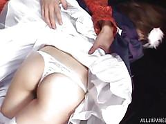handjob, babe, japanese, maid, fingering, brunette, cosplay, censored, japanese cat cosplay, j cos play, all japanese pass, aki katase