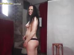 Sexy puss gives deep blowjob and fucks in backstage