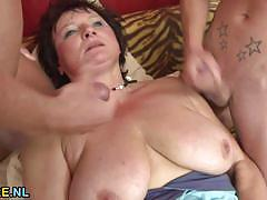 Mature amateur enjoys threesome