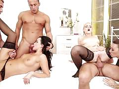 Sexy european pussy pounding party