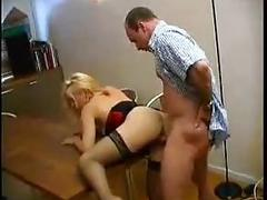 French blonde milf in stockings nailed on the table