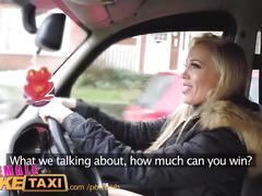 Femalefaketaxi runaway passenger restrained by dominant blonde driver