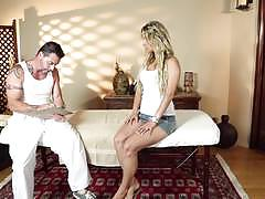 Kinky masseuse slips his cock into alana luv