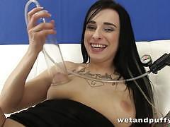 Randy brunette dildo fucks her hot pussy