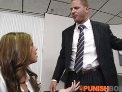 brunette, public, small tits, rough sex, punishbox, punish, rough, hardcore, facefuck, choke, office, small-tits, doggy-style, cock-sucking, stockings