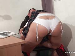 Amateur chubby schoolgirl hard sodomized by her teacher