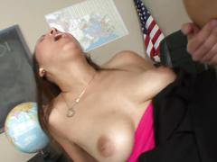Naughty schoolgirl fucks her hot teacher after class