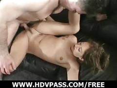 Shy brunettes makes her first porno.