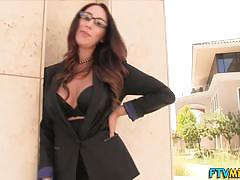 alison angel, glasses, milf, busty, toy, outdoor, masturbation, heels, vibrator, natural, bigtits, pov, masturbating