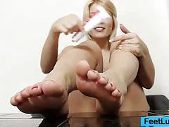 Blonde babe footjob
