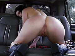 big ass, babe, bang bus, money talks, blowjob, brunette, undressing, pick up, in car, bang bus, bangbros network, kacey quinn