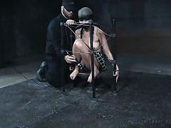 anal, bdsm, asian, blindfolded, brunette babe, mouth gagged, metal bondage, dildo on a stick, infernal restraints, infernal restraints, marica hase
