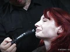 bdsm, crying, dildo fuck, redhead babe, ball gag, device bondage, dildo sucking, infernal restraints, infernal restraints, violet monroe