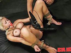 anal, bdsm, big tits, disgrace, blonde babe, cum in mouth, ball gag, rope bondage, electric vibrator, sexual disgrace, fetish network, bibi miami