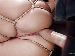 spanked, blonde, threesome, anal, bdsm, babe, big dick, rope bondage, slave training, the training of o, kink, zoey monroe, owen gray