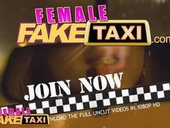 Female fake taxi slim minx gets fucked with strap on by busty blonde driver