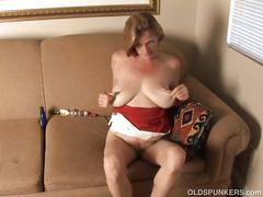 Trashy old spunker thinks of you fucking her juicy pussy