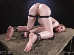 bondage, fetish, red head, small tits, devicebondage, bdsm, redhead, kink, petite, flogging, clothespins, chains, leather-straps, submission, masochism, gagged, small-tits