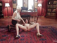 Slutty lilith gets dominated by blonde mistress